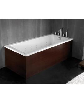 bañera con madera