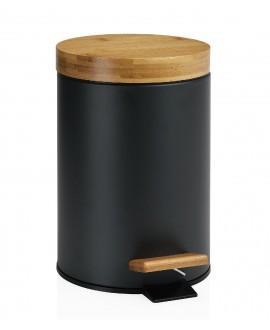papelera negra con madera